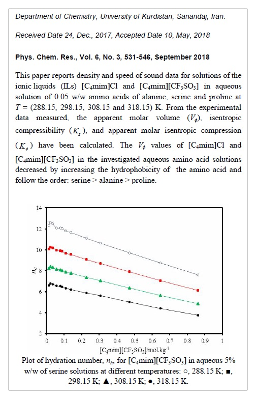 Investigation of Volumetric and Acoustic Properties of Ionic Liquid + Amino Acid + Water Systems at Different Temperatures
