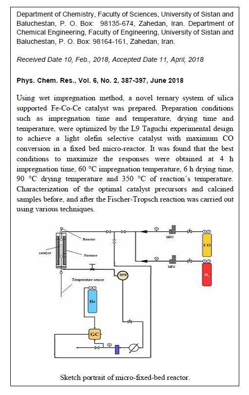 Optimizing the Preparation Conditions of Silica Supported Fe-Co-Ce Ternary Catalyst for the Fixed-bed Fischer-Tropsch Synthesis: Taguchi Experimental Design Approach