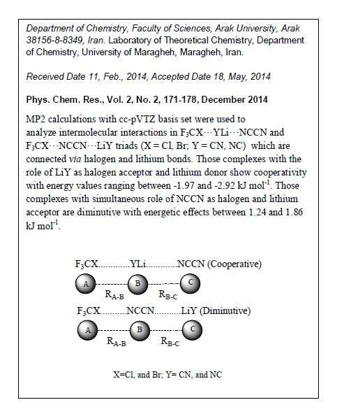 Interplay Between Lithium Bonding and Halogen Bonding in F3CX•••YLi•••NCCN and F3CX•••NCCN•••LiY Complexes (X = Cl, Br; Y = CN, NC)