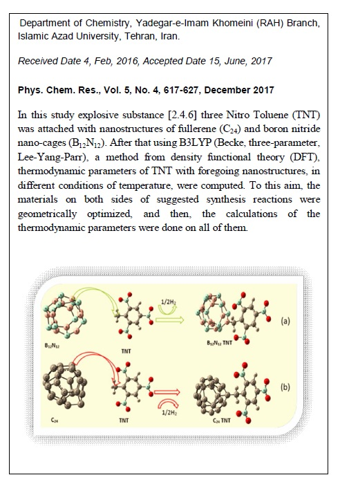 Calculation of Thermodynamic Parameters of [2.4.6] Three Nitro Toluene (TNT) with Nanostructures of Fullerene and Boron Nitride Nano-cages over Different Temperatures, Using Density Functional Theory