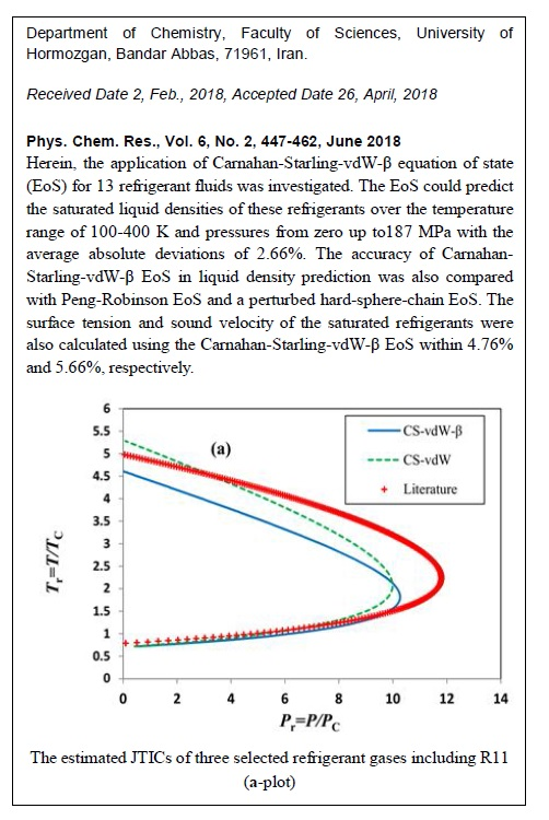 Application of Carnahan-Starling-vdW-β Equation of State for Refrigerant Fluids